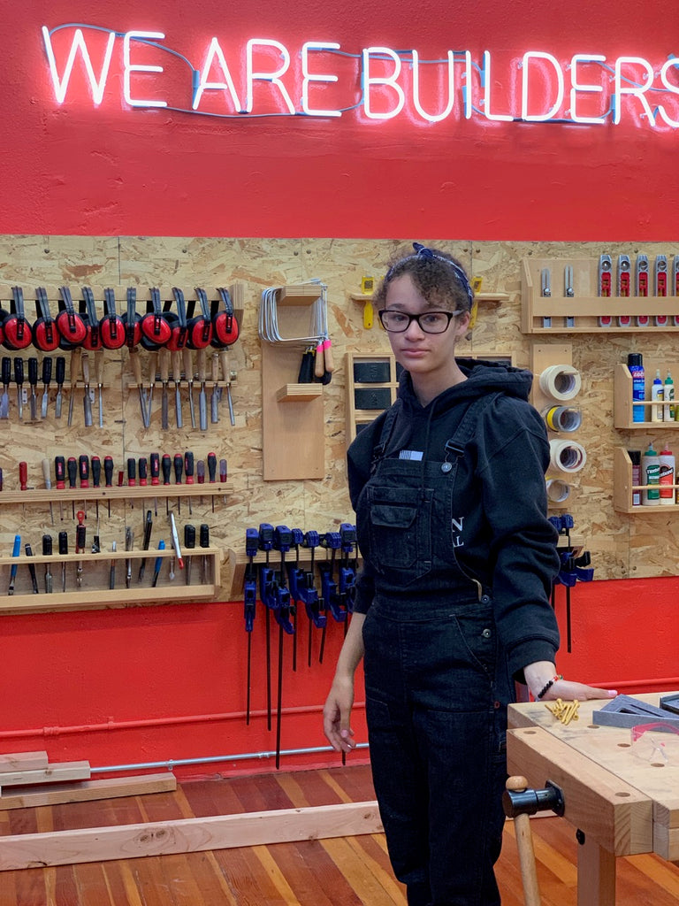Girls build dovetail workwear young woman in freshley overalls