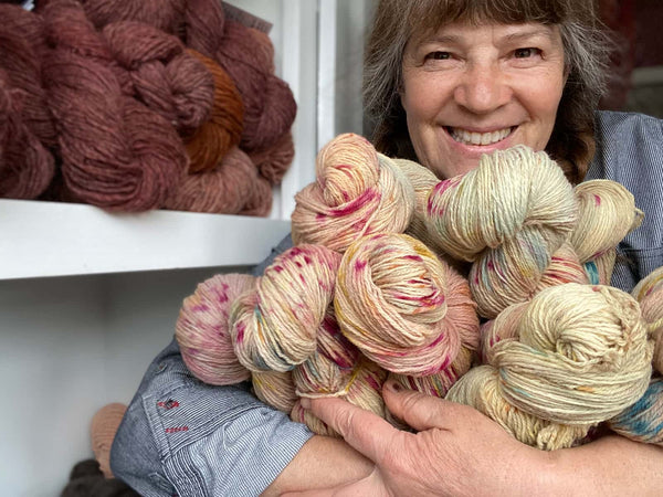 Tammy White with some of the yarn she makes and dyes