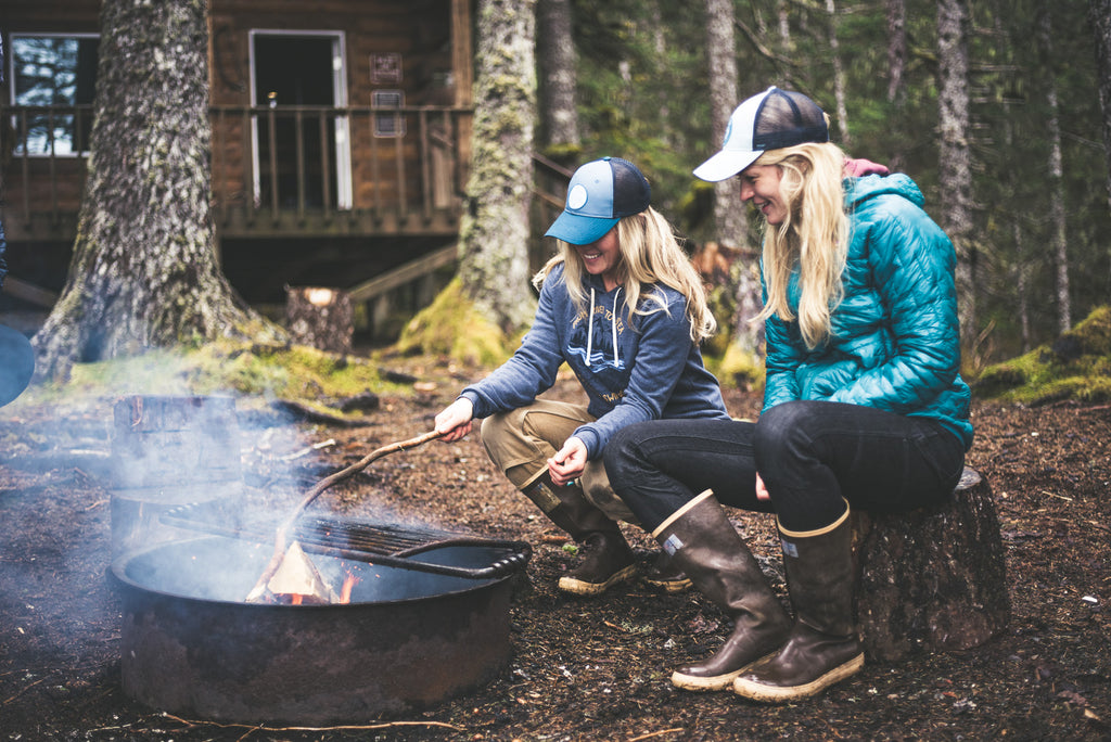 salmon sisters around campfire dovetail workwear