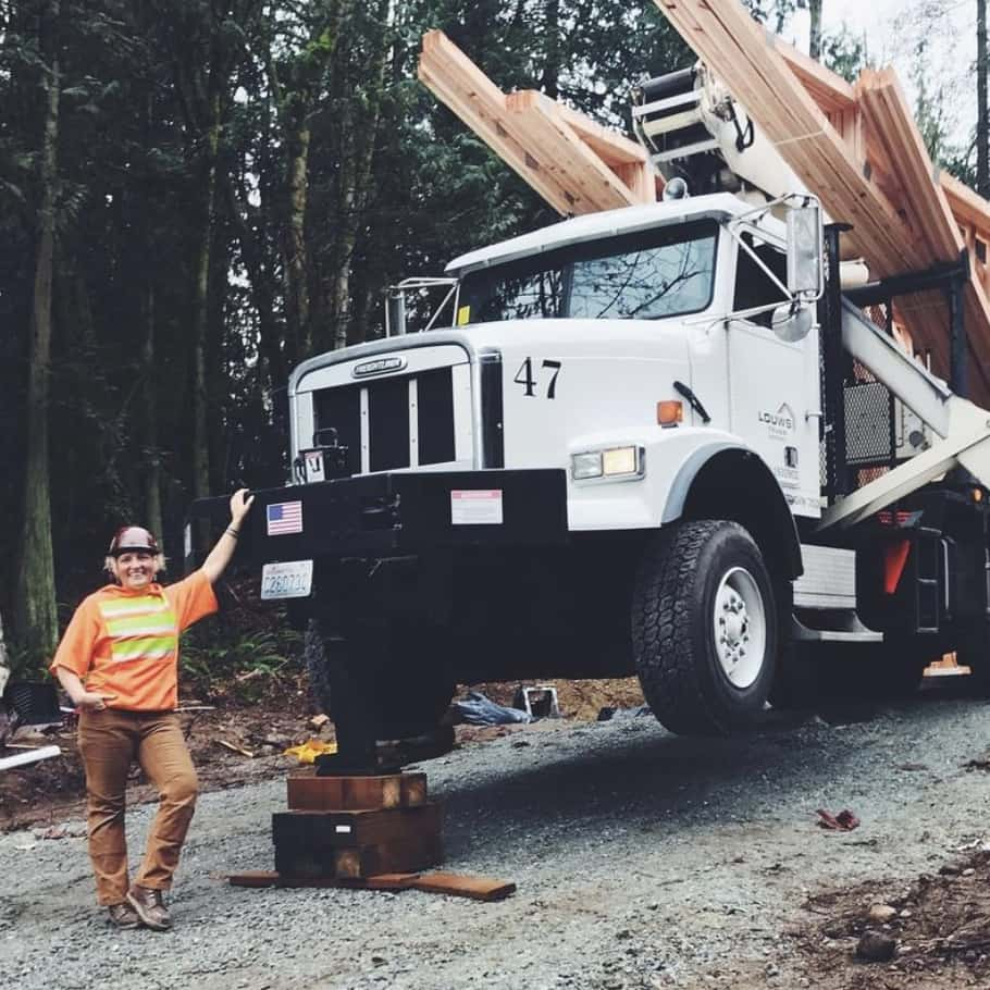 CJ Good in front of a truckful of trusses