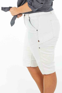 Maven Slim Work Short in Painter's White Stretch Canvas