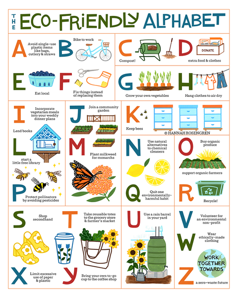 "Eco-Friendly Alphabet 16x20"" Poster *or* 8x10"" Print"