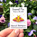 Rosy Maple Moth Enamel Pin