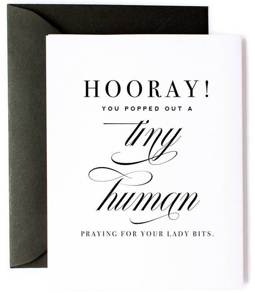 Tiny Human and Lady Bits New Baby Card