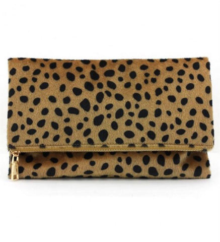 Fold Over Leopard Clutch - Biology Boutique