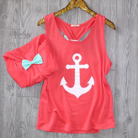 Anchor Print Tank Top with a Bow Back - Biology Boutique