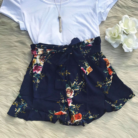 Aubrey Navy Floral Shorts - Biology Boutique