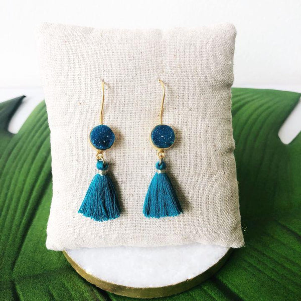 Druzy Tassel Earrings - Biology Boutique