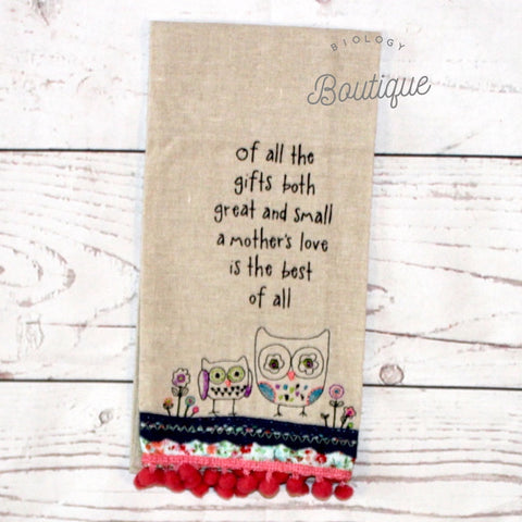 A Mother's Love Linen Hand Towel - Biology Boutique