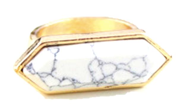 Alli White Marble Ring - Biology Boutique