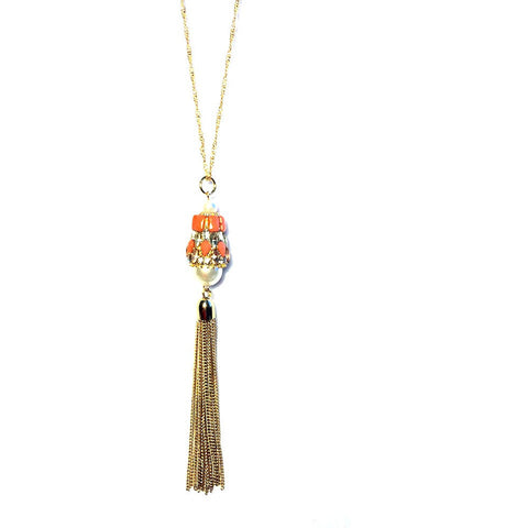Amanda Beaded Tassel Necklace - Biology Boutique