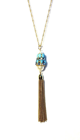 Amanda Blue Beaded Tassel Necklace - Biology Boutique