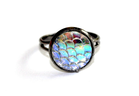 Antique Silver Mermaid Scales Ring - Biology Boutique