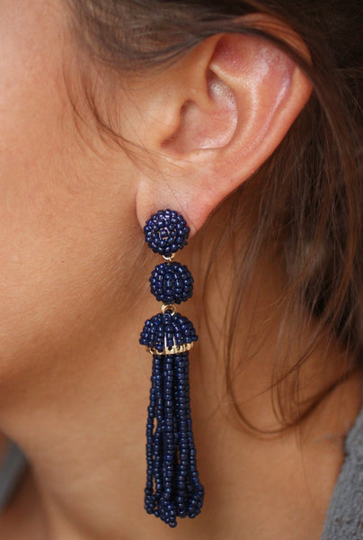Beaded Tassel Statement Earrings in Navy - Biology Boutique