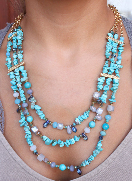 Turquoise Triple Strand Necklace - Biology Boutique
