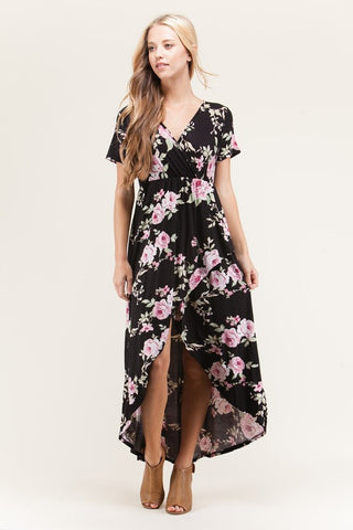 Floral High-Low Maxi Dress - Biology Boutique