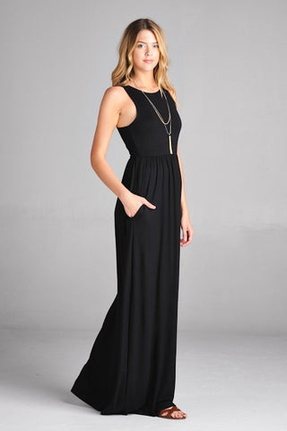 Black Racerback Maxi Dress - Biology Boutique