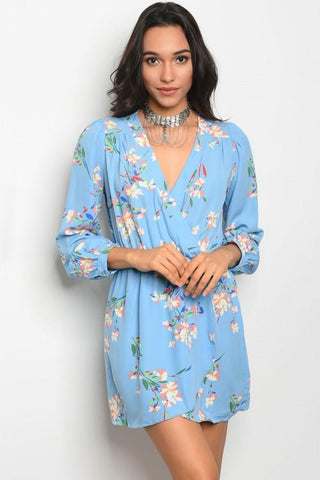 Blue Floral Print Wrap Dress - Biology Boutique