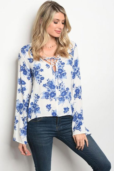 Blue Long Sleeve Floral Print Top - Biology Boutique