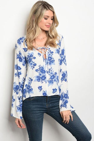 Blue Long Sleeve Floral Print Top