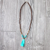 Wood Bead and Natural Stone Tassel Necklace - Biology Boutique