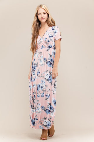 Blush Floral Print Maxi Dress - Biology Boutique