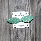 Mint & White Polka Dot Bow Hair Tie - Biology Boutique