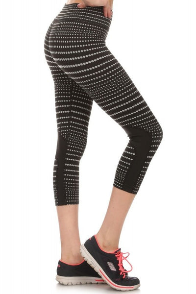 Black and White Dotted Capri Leggings - Biology Boutique
