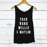 Cash, Hank, Willie & Waylon Tank Top - Biology Boutique