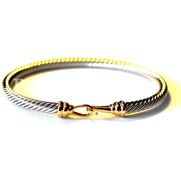 Dual-Tone Buckle Bangle Cable Bracelet - Biology Boutique