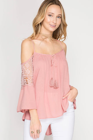 Cold Shoulder Rose Top - Biology Boutique