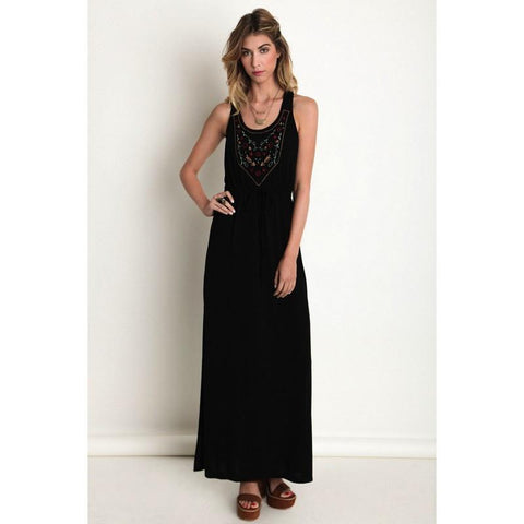 Embroidered Maxi Dress - Biology Boutique