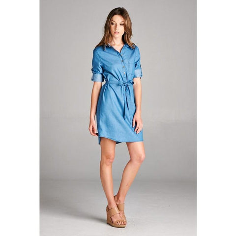 Chambray Button-Up Tunic - Biology Boutique
