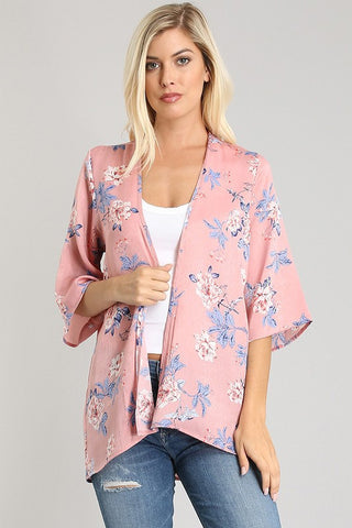 Dusty Pink Floral Cardigan - Biology Boutique