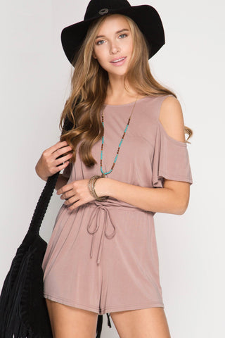Dusty Rose Cold Shoulder Romper
