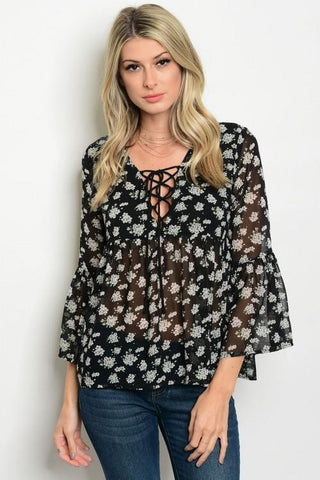 Floral Print Chiffon Top - Biology Boutique