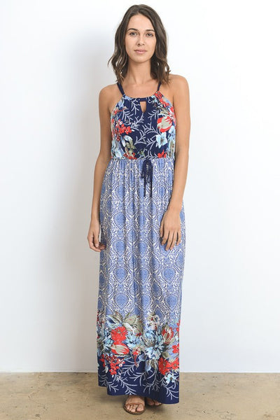 Blue Floral Print Maxi Dress - Biology Boutique