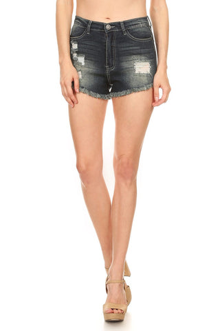 Fringe Hemline Distressed Denim High Rise Shorts - Biology Boutique