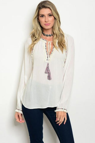 Ivory Embellished Blouse - Biology Boutique