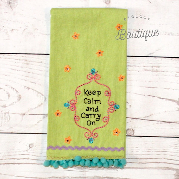 Keep Calm Linen Hand Towel - Biology Boutique