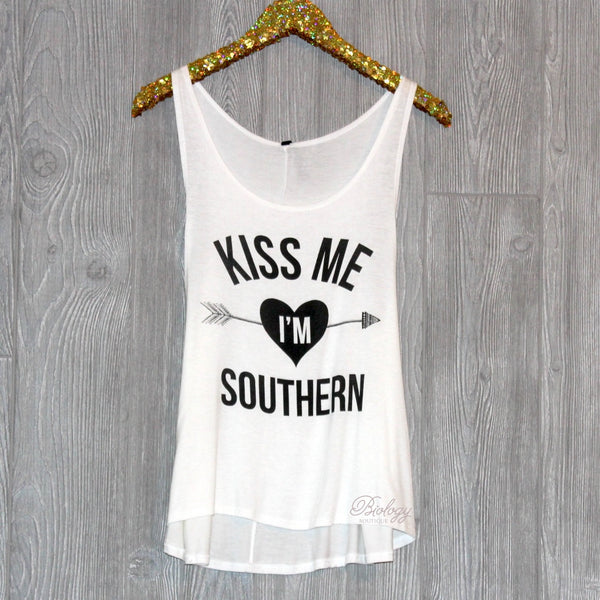 Kiss Me I'm Southern Graphic Tank - Biology Boutique