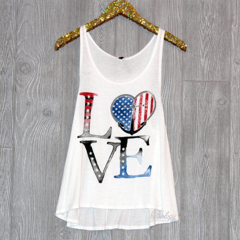 LOVE Red White and Blue Anchor Tank Top - Biology Boutique