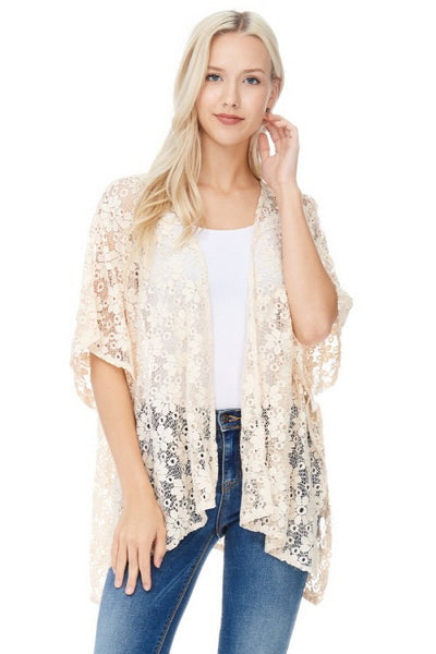 Lace Open Front Shawl - Biology Boutique