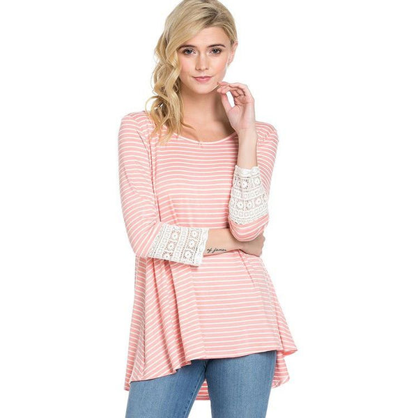 Maggie Striped Lace Top