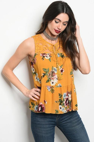 Mustard Floral Top - Biology Boutique