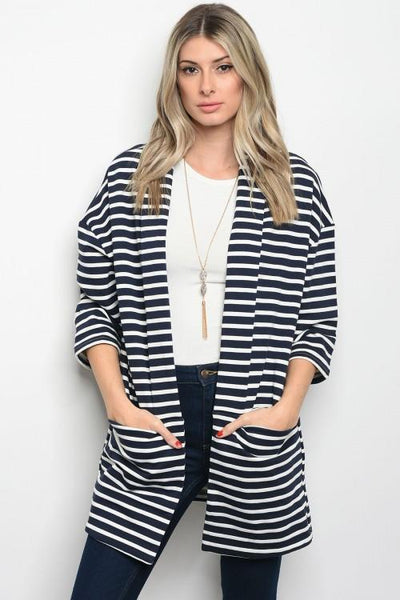 Navy Striped Cardigan - Biology Boutique