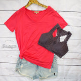 Piko Coral Short Sleeve V Neck - Biology Boutique