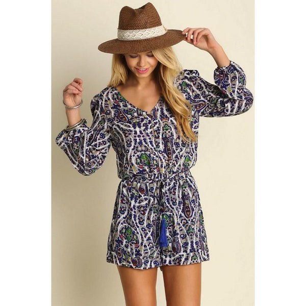 Paisley Long Sleeve Romper - Biology Boutique