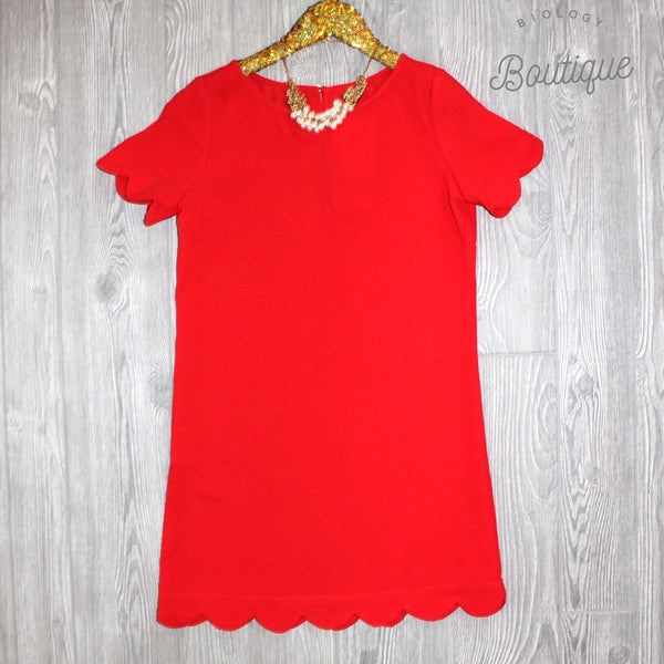 Kensie Scallop Dress in Red - Biology Boutique