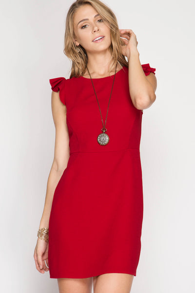 Serena Red Ruffle Dress - Biology Boutique